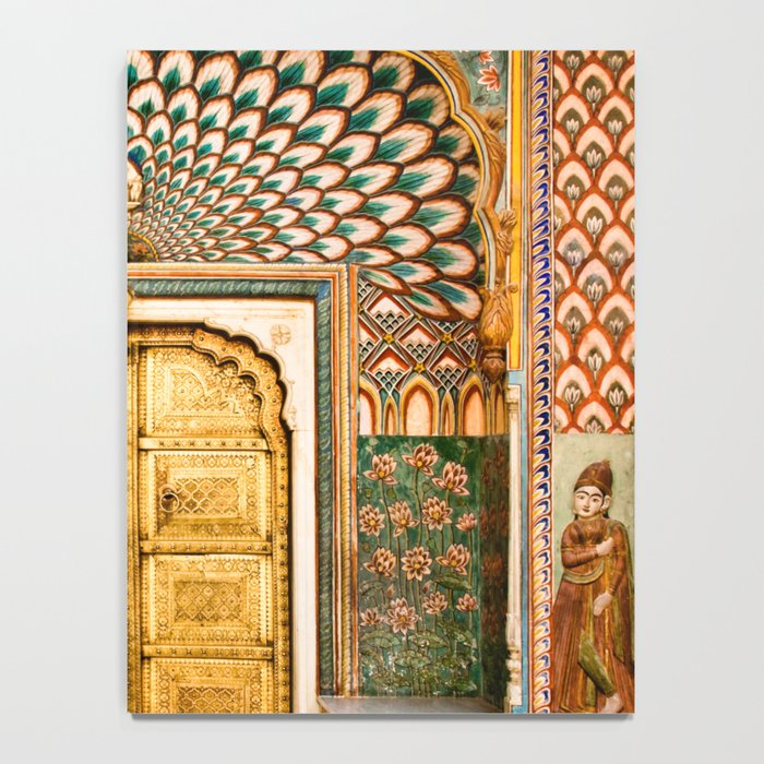 Lotus gate door in pink city at City Palace of Jaipur, India Notebook