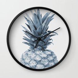 Pineapple, Fruit, Tropical, Light Blue Wall Clock