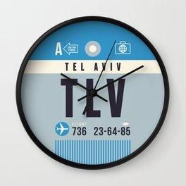 Baggage Tag A - TLV Tel Aviv Israel Wall Clock