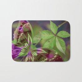 Abstract Purple Green Butterfly Bath Mat