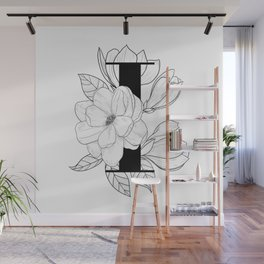 Monogram Letter I with Magnolia Line Art  Wall Mural