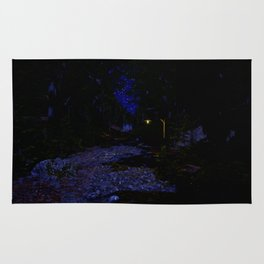 Night time path in the woods Rug