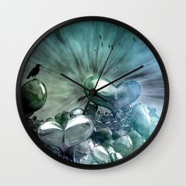 Lost Hearts in Blue, Digital Art Wall Clock