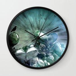 Lost Hearts in Blue, Digital Art Wall Clock