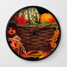 Pumpkins In A Basket With Jack O Lantern And Sunflowers Halloween Decoration Ultra HD Wall Clock
