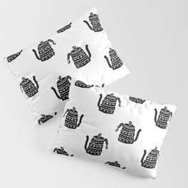 Kettle linocut black and white kitchen appliance coffee and tea water ketle Pillow Sham
