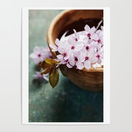 spring flowers for spa and aromatherapy over wooden background Poster