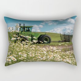 Daisies and a green tractor (defocused) in the Palouse Rectangular Pillow