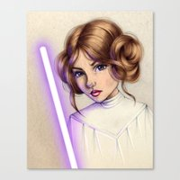 princess leia Canvas Prints featuring Princess Leia by kristen keller reeves
