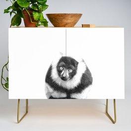 Black and white lemur animal portrait Credenza