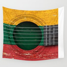 Old Vintage Acoustic Guitar with Lithuanian Flag Wall Tapestry