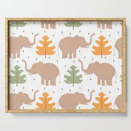 cute pattern background illustration with elephants and tropical exotic leaves Serving Tray