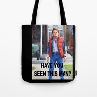 marty mcfly Tote Bags featuring MARTY by Dora Birgis