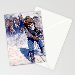 """N C Wyeth Painting """"Roping Wild Horses"""" Stationery Cards"""