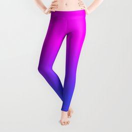 Neon Blue and Hot Pink Ombré Shade Color Fade Leggings