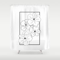 1975 Shower Curtains featuring Flower Rectangle by Bird & Tree