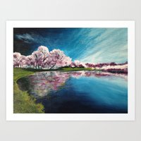 Cherry Blossom Reflections Art Print