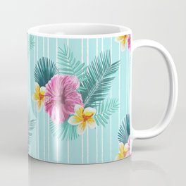 Cool blue base pink floral texture Coffee Mug