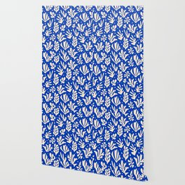 matisse pattern with leaves in blu Wallpaper