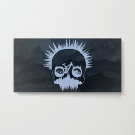 MTB Skull Metal Print