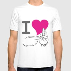I LOVE TO F**K MEDIUM White Mens Fitted Tee