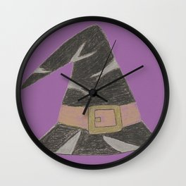 Wizard's hat on a purple background Wall Clock