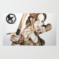 katniss Area & Throw Rugs featuring Mockingjay. Katniss Everdeen. by Feeling Artsy
