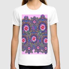PINK & BLUE #2 PEACOCK MANDALAS WITH  FUCHSIA FLOWER ART T-shirt