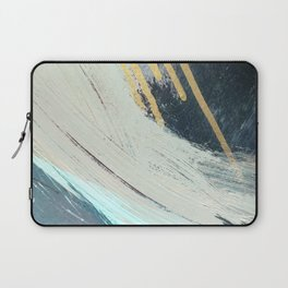 Karma: a bold abstract in blues and gold Laptop Sleeve