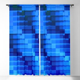 Buildings At Night In Blue Modern Abstract Blackout Curtain