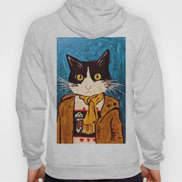 Cat Portrait Custom Acrylic on Canvas Painting  Hoody