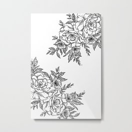 Floral - Black & White Metal Print
