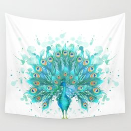 Watercolor Peacock Wall Tapestry