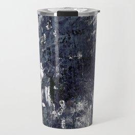 wood flower_blue Travel Mug