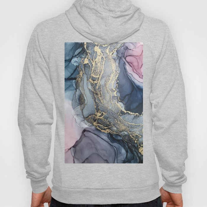 Blush, Payne's Gray and Gold Metallic Abstract Hoody