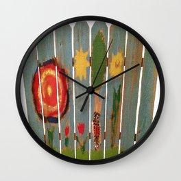 Fence Row Woodpecker Wall Clock