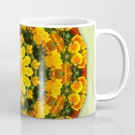 Floral mandala-style, California Poppies Coffee Mug