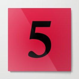 5 (BLACK & CRIMSON NUMBERS) Metal Print