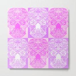 Pink and Purple Sugar Skulls Collage Metal Print
