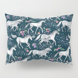 Unicorns and Stars on Dark Teal Pillow Sham