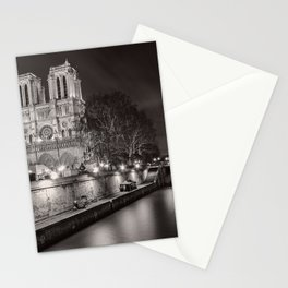 Notre Dame Cathedral, Paris, France on the River Seine black and white photograph / art photography Stationery Cards