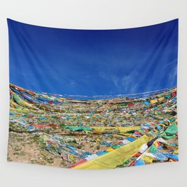 colorful prayer flags on the Tibetan mountain Wall Tapestry