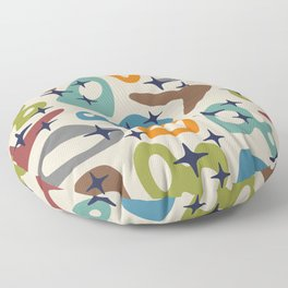 Retro Mid Century Modern Abstract Composition 926 Floor Pillow