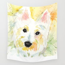 White Terrier Wall Tapestry