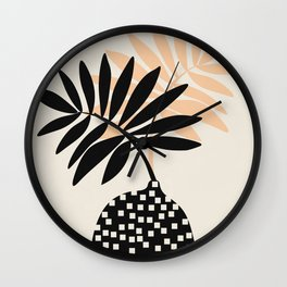Still Life with Vase and Tropical Leaves Wall Clock