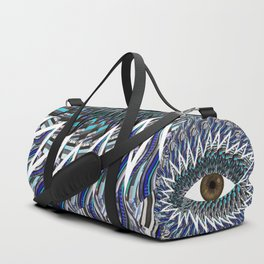Origami Chakra Eye - Chocolate Brown Black Duffle Bag