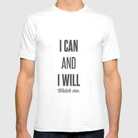 I can and I will watch me - Motivational print LARGE Mens Fitted Tee White