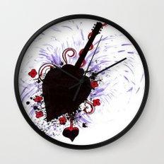 Bleeding Black Heart Guitar Wall Clock