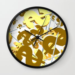 Golden dollar sign Wall Clock