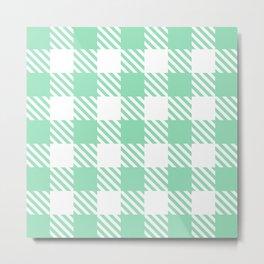 Plaid Pattern Mint Green Metal Print